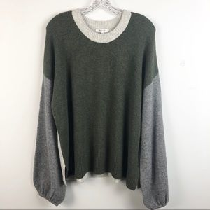 Madewell Green Colorblock Payton Pullover Sweater